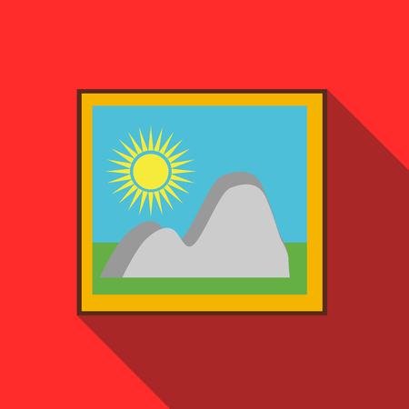 Picture in a frame on the wall icon in flat style on a red background