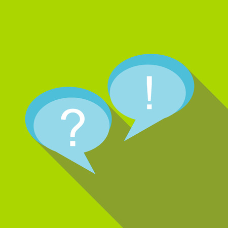 Speech bubbles with question and exclamation marks icon in flat style on a green background Illustration