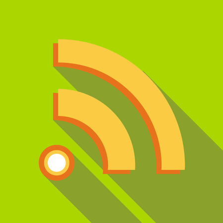 Wireless network symbol icon in flat style on a green background