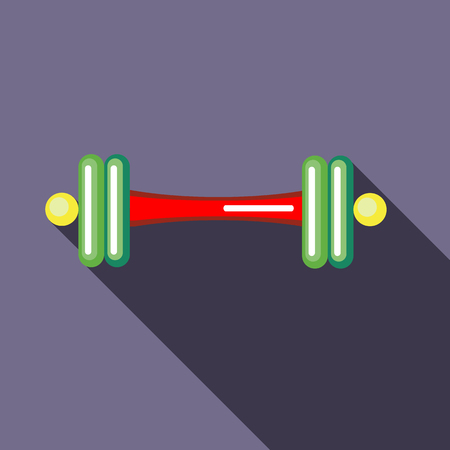 Barbell icon in flat style on a lavender background Illustration