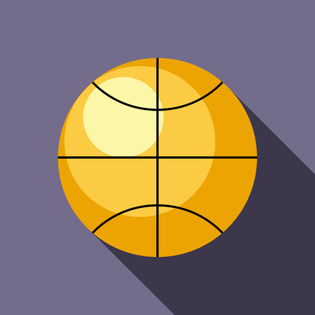 Basketball ball icon in flat style on a lavender background
