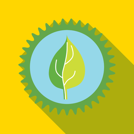 Green leaf in a gear icon in flat style on a yellow background