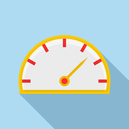 Speedometer icon in flat style on a light blue background Stock Vector - 105611209