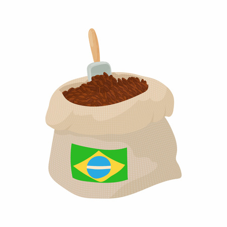 Brazilian coffee icon in cartoon style isolated on white background. Drink symbol Stock Illustratie
