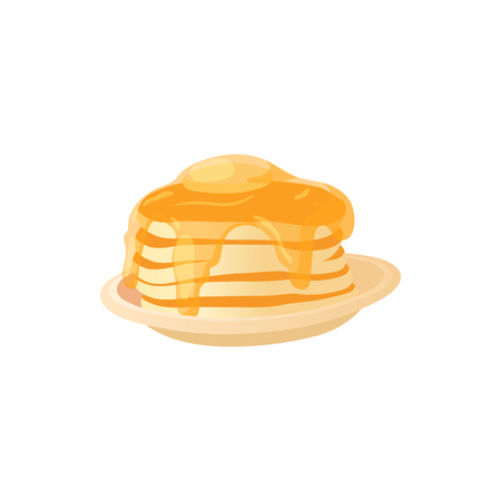Pancake icon in cartoon style isolated on white background. Food symbol