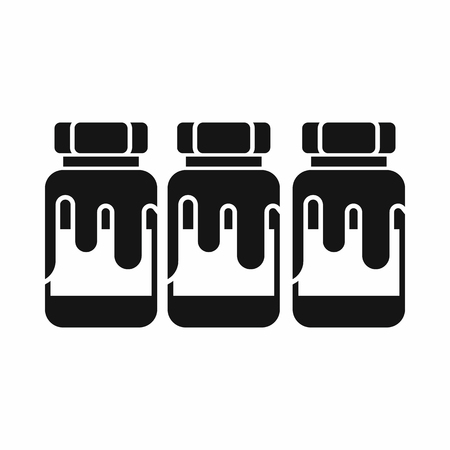 Three plastic jars with gouache icon in simple style isolated vector illustration