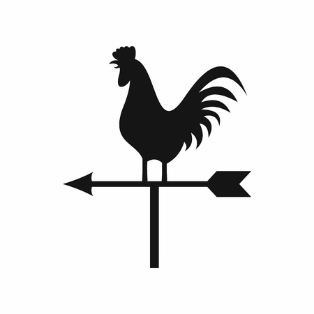 Weather vane with cock icon in simple style isolated vector illustration