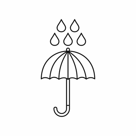 Umbrella and rain drops icon in outline style isolated vector illustration