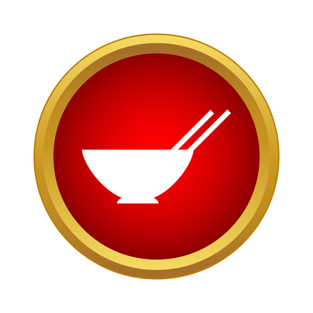 Bowl with pair chopsticks icon in simple style on a white background