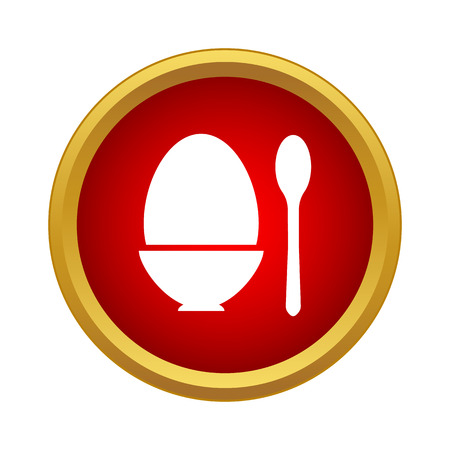 Egg cup and spoon icon in simple style on a white background Ilustração