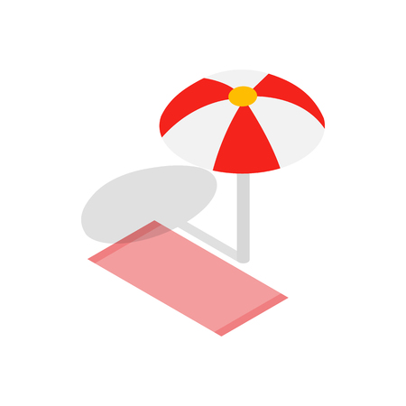 Beach towel and umbrella icon in isometric 3d style isolated on white background. Relax symbol