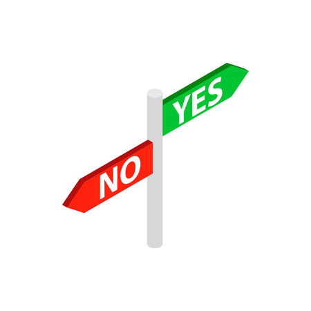 Sign yes no icon in isometric 3d style isolated on white background. Choise symbol Illustration