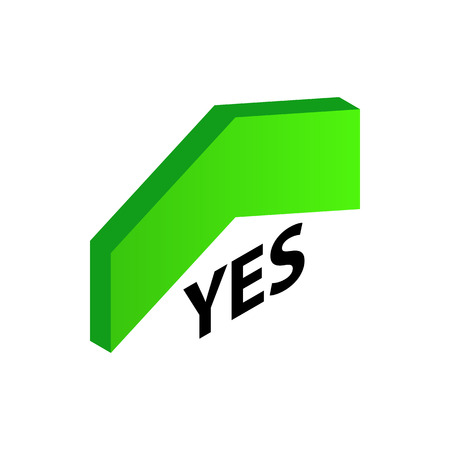 Up arrow that says Yes icon in isometric 3d style isolated on white background. Choice symbol