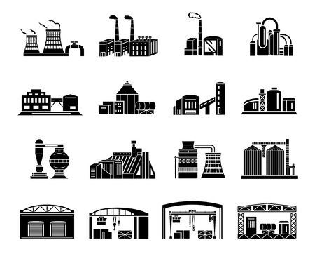 Set of Factory building, production equipment, cranes and warehouses. silhouettes on a white background for any design style Banque d'images - 105611493