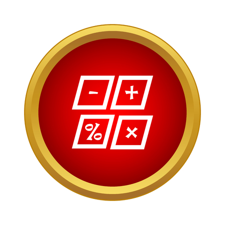 Marks calculation icon in simple style in red circle. Math symbol Illustration