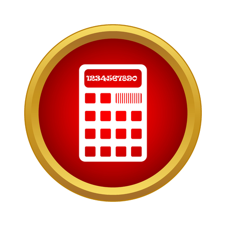 Calculator icon in simple style in red circle. Computing device symbol