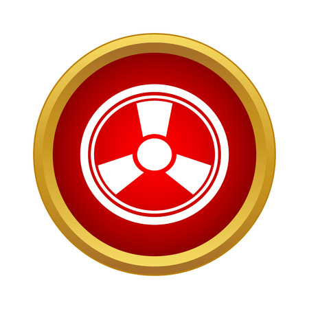 Radiation icon in simple style in red circle. Danger symbol