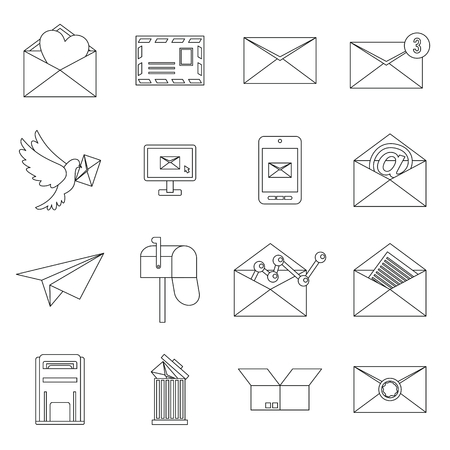 Email icons set in outline ctyle. Postal and mailing signs set collection vector illustration 矢量图像