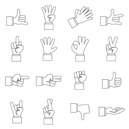 Hand gesture icons set in outline ctyle. Finger language set collection vector illustration Illustration