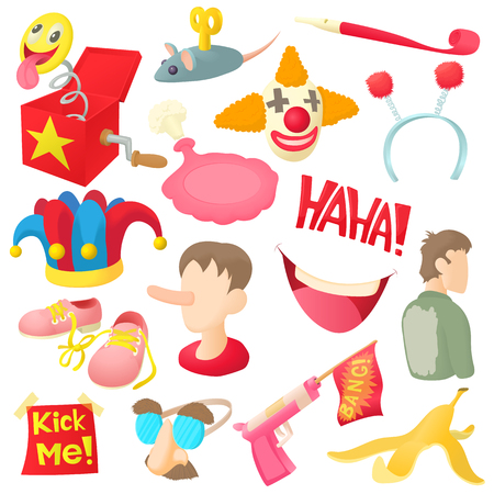 April fools day icons set in cartoon ctyle. Prank playful actions set collection vector illustration