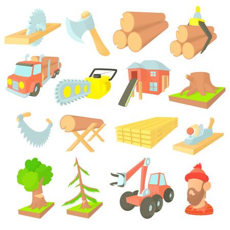Ikony przemysłu drzewnego w stylu kreskówki. Sprzęt drwala zestaw kolekcja ilustracji wektorowych