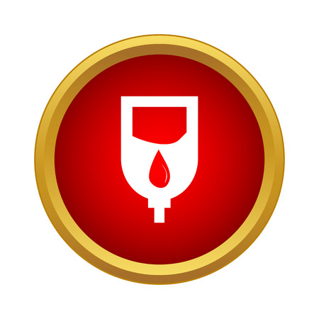 Dropper sign icon in simple style in red circle. Medicine symbol Ilustração