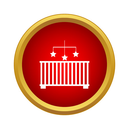 Baby cot with toy icon in simple style in red circle. Facilities for child symbol