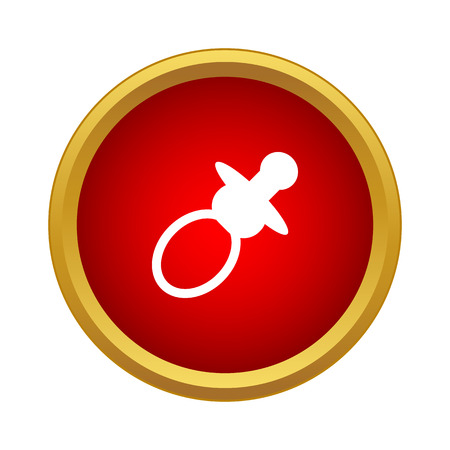 Baby nipple icon in simple style in red circle. Children items symbol