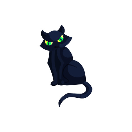 Halloween black cat with green eyes icon in cartoon style on a white background Illustration