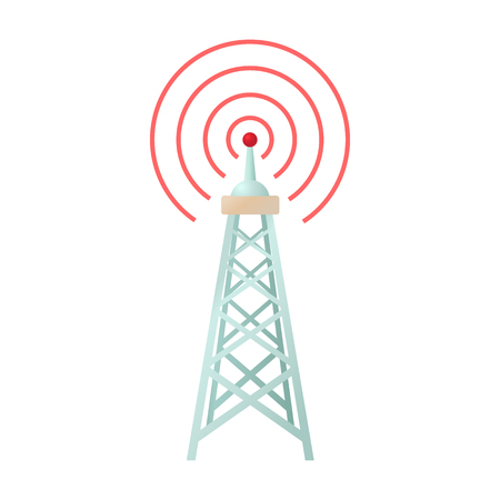 Funkturm-Symbol im Cartoon-Stil auf weißem Hintergrund