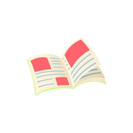Rivista con posto per icona pubblicitaria in stile cartone animato su sfondo bianco