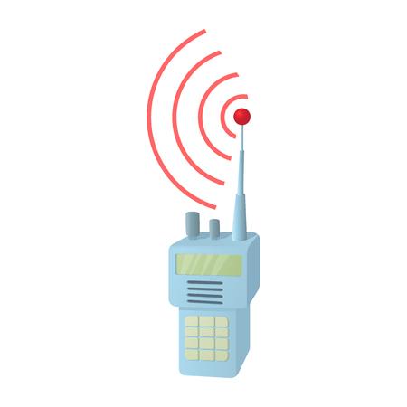 Tragbares Handfunkradiosymbol im Karikaturstil auf einem weißen Hintergrund