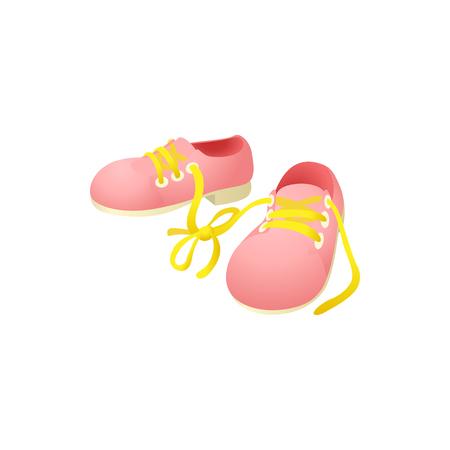 Rosa Schuhe mit Schnürsenkeln zusammengebundenes Symbol im Karikaturstil auf weißem Hintergrund Vektorgrafik