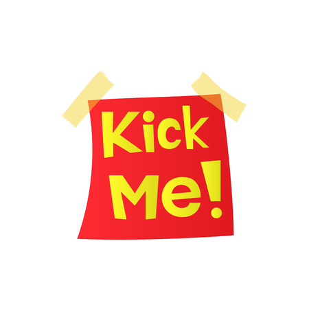 Kick me, april fools day sticker icon in cartoon style on a white background Stockfoto - 105611768