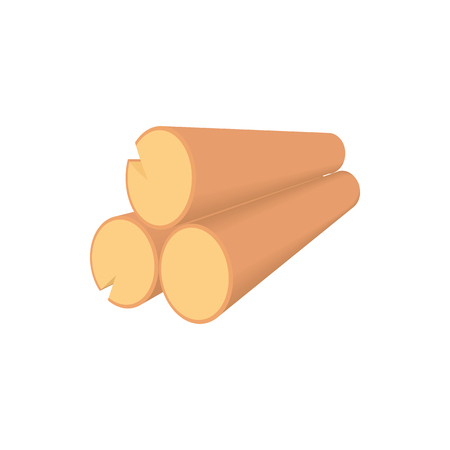Wooden logs icon in cartoon style on a white background