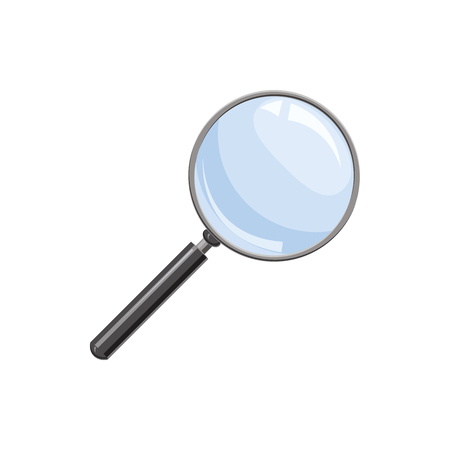 Magnifying, glass icon in cartoon style on a white background