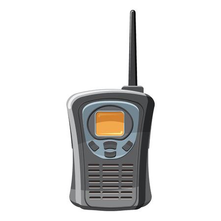 Icono de radio portátil de mano en estilo de dibujos animados sobre un fondo blanco