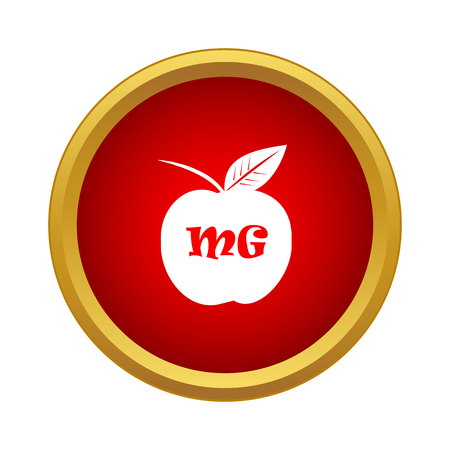 Apple with theory of relativity formula icon in simple style in red circle Illustration