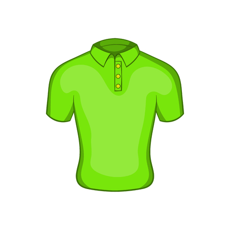 Mens green polo icon in cartoon style isolated on white background. Clothing symbol
