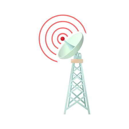 Toren met communicatie schotelpictogram in cartoon stijl op een witte achtergrond