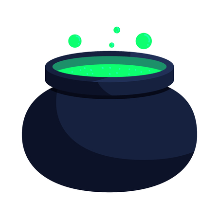 Witch cauldron with green potion icon in cartoon style on a white background Illustration