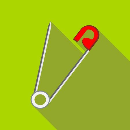 Öffnen Sie das Sicherheitsnadelsymbol im flachen Stil auf einem grünen Hintergrund