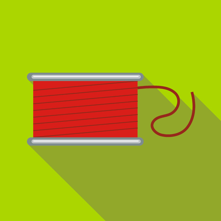 Spool of red thread icon in flat style on a green background
