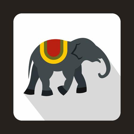 Elephant icon in flat style on a white background Illusztráció