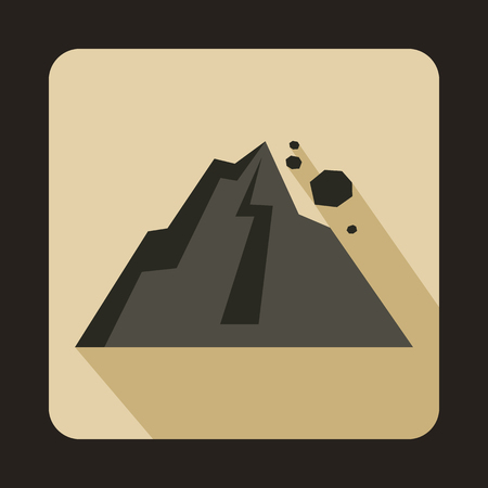 Rockfall icon in flat style on a beige background