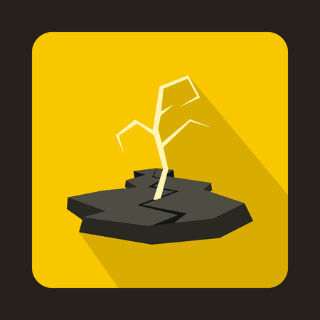Drought icon in flat style on a yellow background