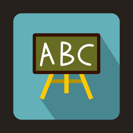 Chalkboard with the leters ABC icon in flat style on a baby bl ue background