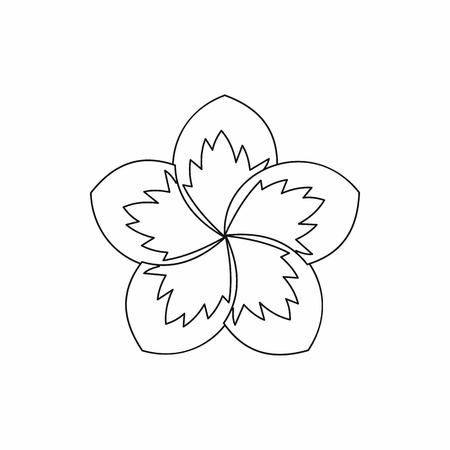 Icône de fleur de frangipanier dans le style de contour isolé illustration vectorielle