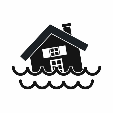House sinking in a water icon in simple style isolated vector illustration Vettoriali