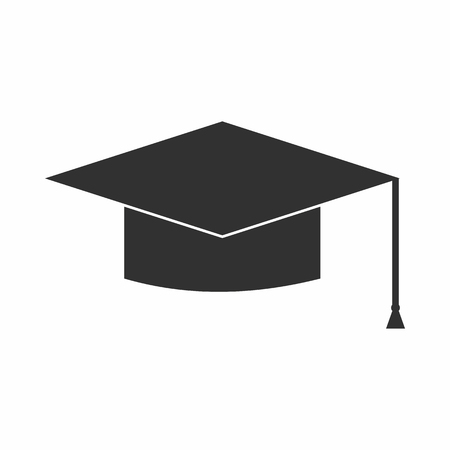 Graduation cap icon in simple style isolated vector illustration